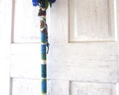 Vintage walking cane refurbished with crochet and vintage finds