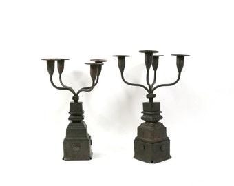 1700s Candelabra Set, Colonial American Antique, Iron & Wood, Rustic Bohemian Decor