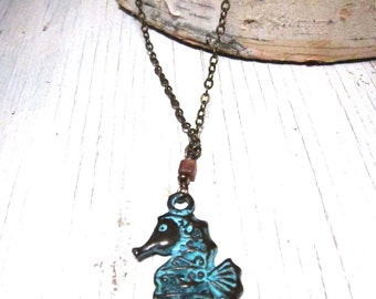 SEAHORSE Green Patina Pendant- Double Sided Mykonos Cast -Antiqued Brass Chain by SusanHeleneDesigns