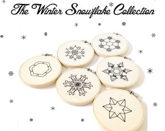 The Winter Snow Flake Collection ~  Six 6 Embroidery PDF's ~ Instant Digital Download  Snow Crystal Embroidery Pattern ePattern .