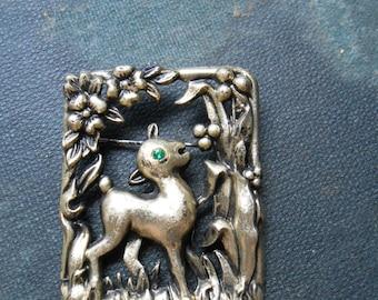 square lamb metallic plastic vintage rhinestone brooch - kitschy vintage jewelry