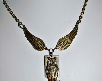Owl  winged pendant necklace choker  great look one of a kind made in Michigan