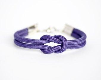 Purple forever knot parachute cord nautical rope bracelet