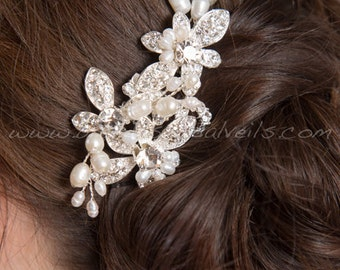 Wedding Hair Comb, Bridal Headpiece, Crystal and Pearl Hair Comb, Wedding Hair Accessory - Shenise