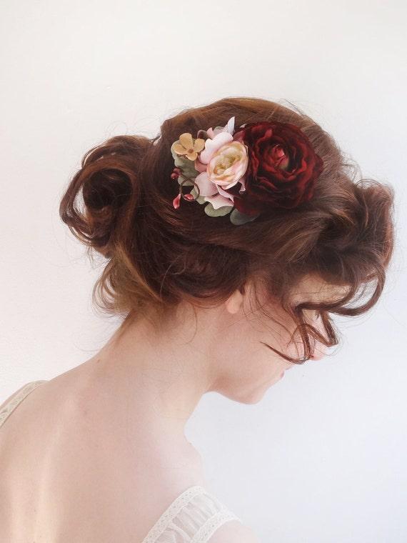 Burgundy Hair Flower Bridal Hair Clip Burgundy Flower Hair