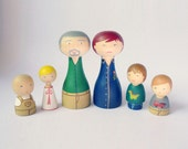 Custom Family of 6 Portrait Grandparents and grandchildre Personalized - FREE SHIPPING Wooden hand painted special gift