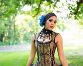 Steampunk Corset Vest - Pirate Renaissance Bridal Wedding Top - Gold Black Paisley -Custom to your size