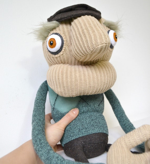 Grandad Wilbert, Art doll handmade from recycled fabric