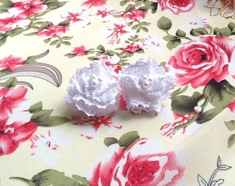 Handmade by me lace/tulle/ribbon flower - SF206 Lace Flowers -  in WHITE Color - 2 pcs
