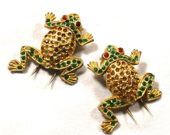Vintage Frog Fur Clips Rhinestone Bodies Green Red Amber Dress Pins 1940s