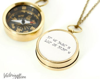 Custom Coordinates Necklace, Compass, Latitude Longitude, Travel Gifts, Graduation Gift, Paper Anniversary, Destination, Brass, Silver