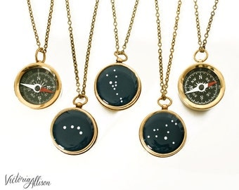 Small Working Compass Necklace, Zodiac Jewelry, Personalized Constellation, Antiqued Brass Chain, Birthday Gift, Bridal Party Gifts