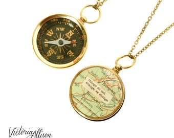 Working Map Compass Necklace - Things Do Not Change, We Change - Thoreau or Personalized Quote, Travel, Graduation Gift, Inspirational
