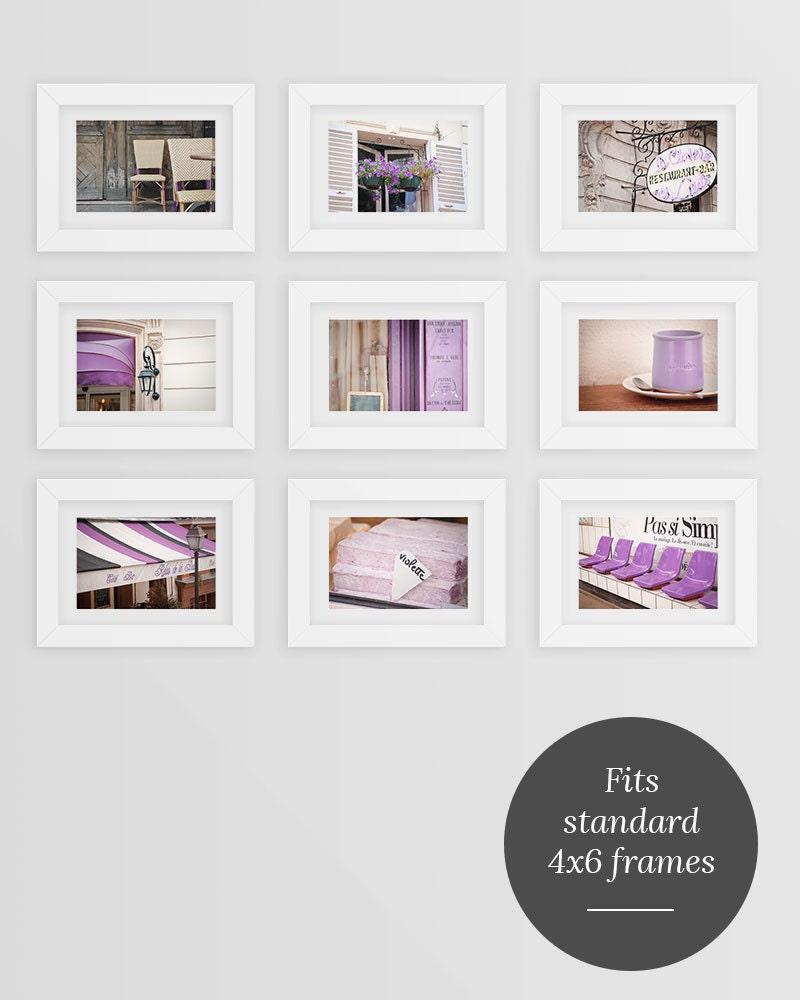 Paris Postcard Set, Purple Travel Postcards 4x6 Art Print, Affordable Art, Paris Decor, College Student Gift for Her, Stocking Stuffer