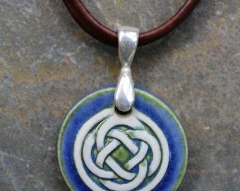Deep Blue Celtic Knot Pendant