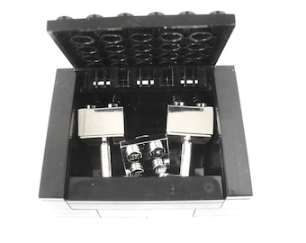 Chrome Silver Groomsmen Cufflinks & Tie Pin Gift Set Includes Box - Handmade with LEGO(r) Bricks , Wedding Cufflinks, Grooms Cufflinks clip