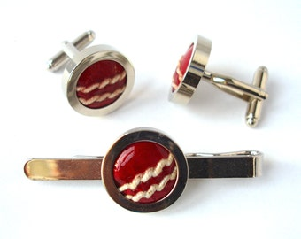 Valentines Day gift Real Cricket Ball Cufflinks and Tie Bar Set, Groomsmen Cufflinks & Tie Clip, Wedding Cufflinks Tie Slide Groom Cufflinks