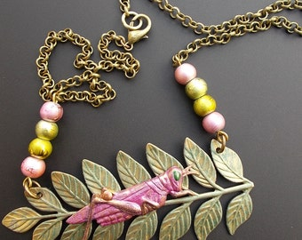 Pink Grasshopper Necklace, Fern Leaf Necklace, Insect Jewelry, Nature Inspired Necklace, Lucky Cricket Necklace