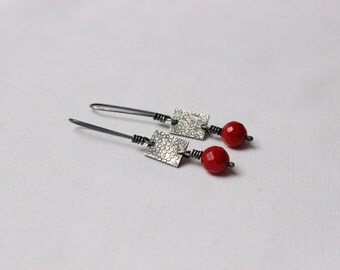 Faceted red Coral earrings,  exquisite red earrings made of Sterling Silver