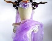 Antler Headdress Ritual Crown Amethyst Moonstone Woodland Fairy Costume Offbeat Wedding Pagan Deer AURORA PRINCESS by Spinning Castle