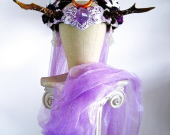 Antler Headdress Ritual Crown Amethyst Moonstone Woodland Fairy Costume Offbeat Wedding Pagan Deer AURORA PRINCESS by Spinning Castle