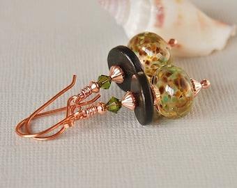 Green Brown Glass Earrings, Artisan Lampwork Bead Earrings, Olive, Pure Copper - EARTH CHILD