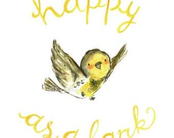 "Children's Art -- ""Happy As A Lark"" -- Archival Print"