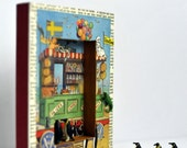 3D ARTWORK. Penguins at the Beach. Shadow Box Art / Nursery / Child Bedroom Art using Vintage Materials / Collage / Mixed Media