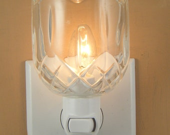 Clear Glass Diamond Pattern Custom Made Candle Holder  Night Light