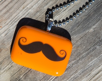 Fused Glass Pendant - Mustache - orange