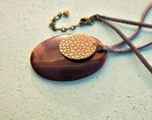 Adjustable Gray Suede Cord Necklace with Merlot Resin and Rustic Brass Pendant: Ravenna