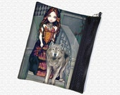 Wolf Countess zippered pouch Jasmine Becket Griffith wristlet, travel bag,