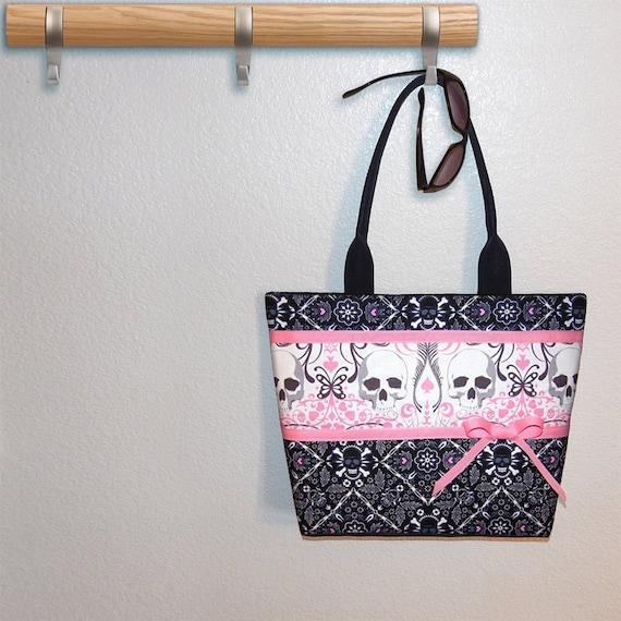 Large Skull tote bag, pink hearts, book tote, shoulder bag