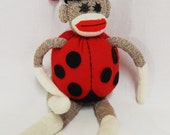 Vintage Sock Monkey - Ladybug, Bumble Bee, Easter Bunny or Frog