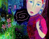 Noctambula, 7 x 5, original mixed media painting, night time, fairytale