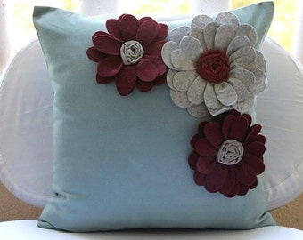 """Light Blue Throw Pillows Cover,  Square  Felt Origami Flower Applique Floral Theme 16""""x16"""" Faux Suede Throw Pillows Cover - Full Bloom"""