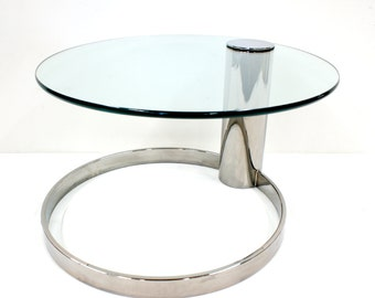 Summer Sale Mid Century Modern Pace Glass Top Chrome Coffee Table