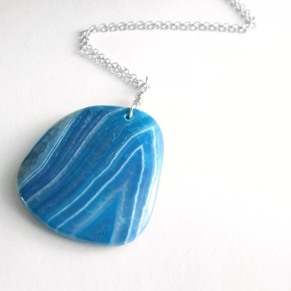 Turquoise Agate Pendant, Teal Stone Jewelry, Blue Agate Slab Necklace
