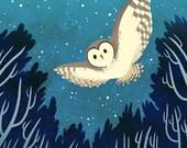 Barred Owl Night Flight 8x8 art print