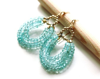 The Teal earrings  - fresh earrings with faceted Apatite stones  and gold wire