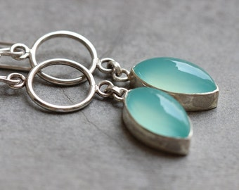 Dangler earrings - Aqua earrings - Chalcedony earrings - Aqua blue earrings - bridal jewelry - wedding - gift idea