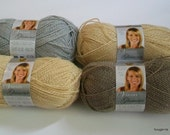 4 Skeins Vanna's Glamour Yarn in Topaz, Platinum and Moonstone Colors by Lion Brand - destash by foxygknits