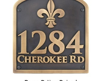 Fleur de Lis Address Plaque 16x17 inches this is huge Home Numbers Custom for you Made the the USA