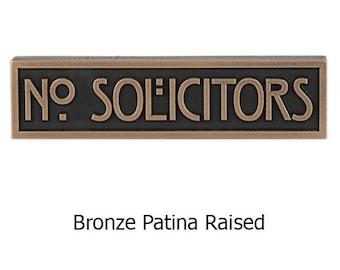 Ready to Ship! Stickley Mini No Solicitors in Bronze Patina 8x2 inches