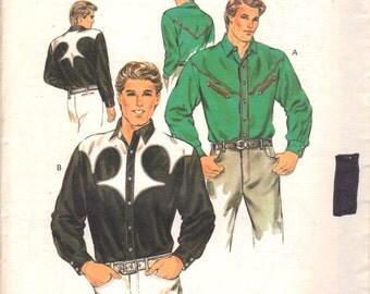 1980s  Kwik Sew 1603 Mens Western Shirt Pattern Decorative Yoke Sewing Pattern Adult Vintage Sewing Pattern Chest 34 36 38 40 UNCUT