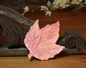 Ceramic Maple Leaf, Peach Lavender, Spoon Rest, Tea Bag Holder