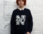 navy sweatshirt/ vintage 80s United States Navy logo graphic sweatshirt