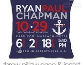 Birth announcement pillow nautical theme on DARK fabric pillowcase new baby gift custom whale and anchor throw pillow