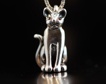 Silver Cat Necklace Cat Charm Magic Cat Charm Cat Pendant Sterling Silver Cat Jewelry Black Cat Kitty Jewelry Kitty Cat Kitty Charm Feline