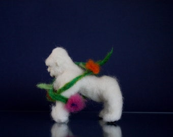 Needle felted monkey, Felted gorilla, Waldorf monkey doll, african toy, ooak animal miniature, ape, white monkey, jungle creature, primate